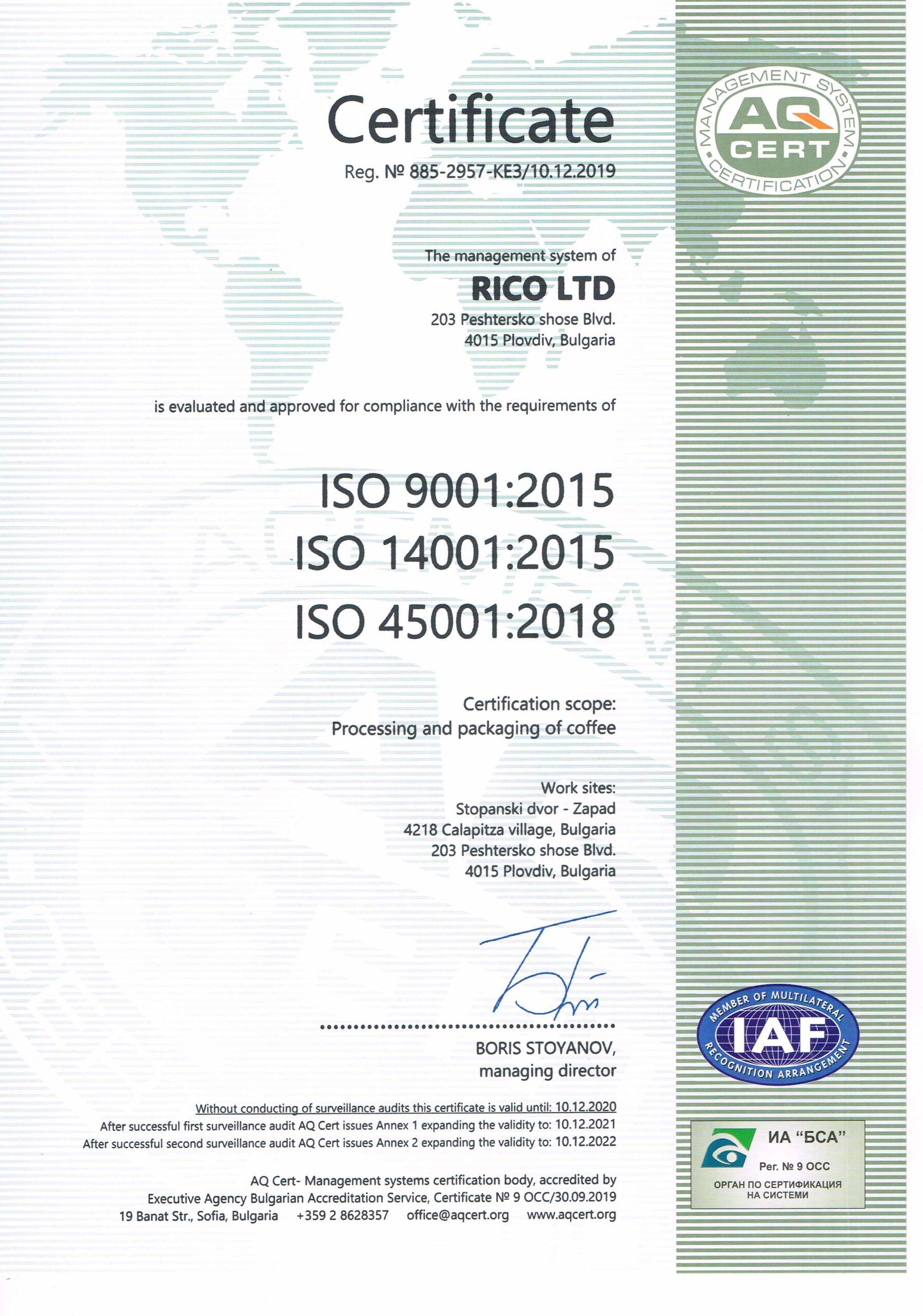 Certificate RICO ISU
